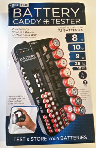 Battery Tester Caddy Organizer Holds  72 Batteries Wall Mount or Counter top