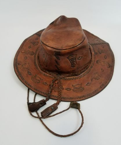 machu picchu hand crafted leather hat