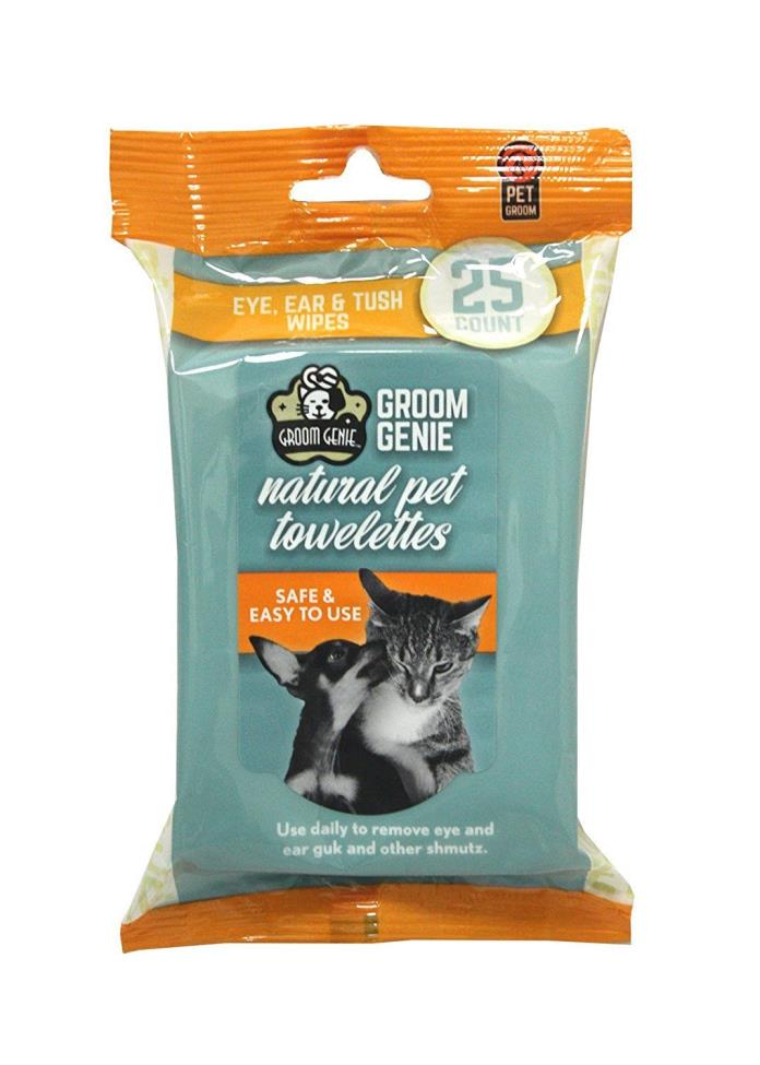 Multipet - Groom Genie - Natural Pet Towelettes - 25 Count - NEW -