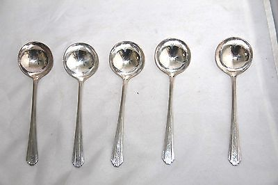 5 Moderne Sectional Silver Plated Soup Spoons 5