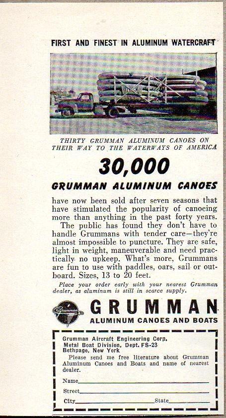 1953 Print Ad Grumman Aluminum Canoes & Boats Truck Hauling Load