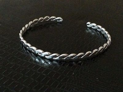 Vintage Mexico Sterling Silver .925 Braided Flattened Twist Open Bangle Bracelet