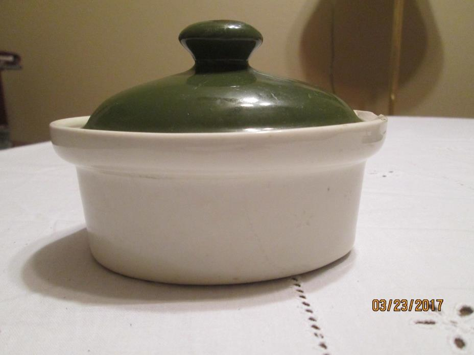 Hall Pottery #90 Mini-Casserole Dish, White w/Green Top, ceramic