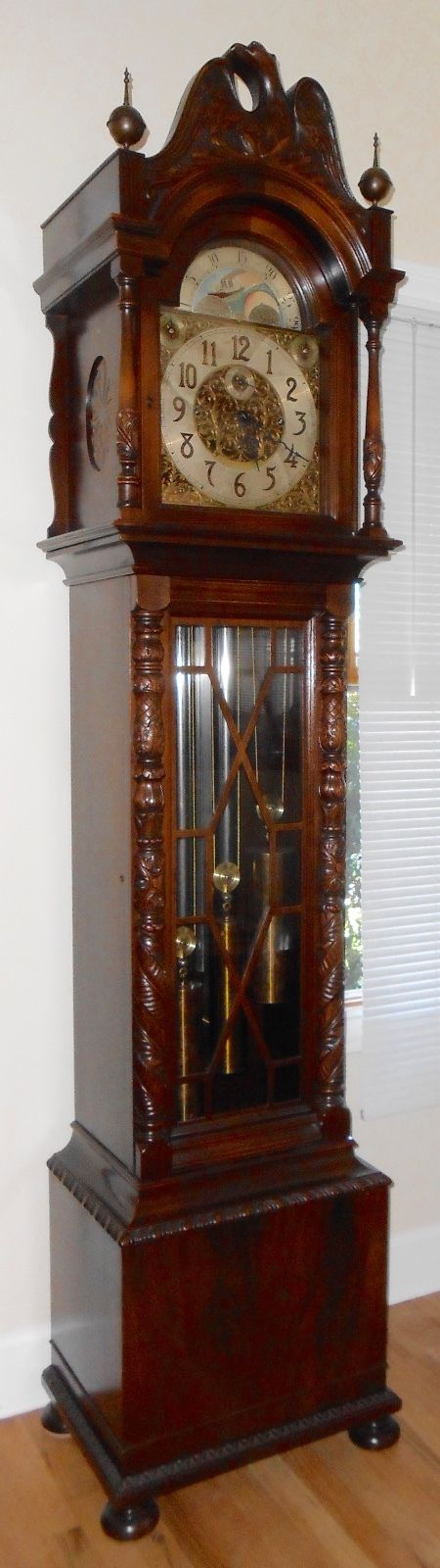 Colonial Tall Case Clock with Winterhalder & Hofmeier Movement Westminster Chime
