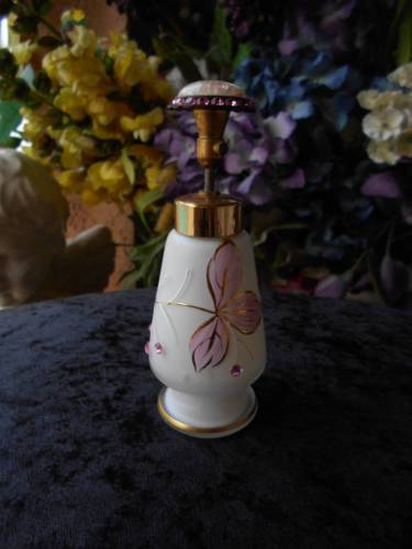 vintage satin glass PERFUME BOTTLE rhinestones polish stone pump top 5