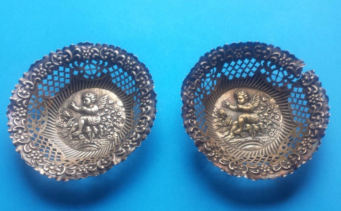 2-c1890-1930 REPOUSSE CHERUB BOWLS-BIRMINGHAM,ENGLAND-2.6 us oz-MARKED-SEE