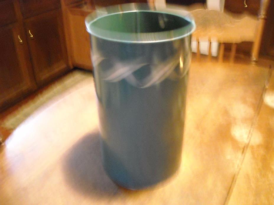 Vintage round blue metal wastebasket