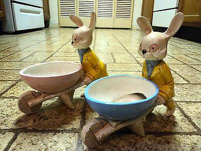 Pair of Vintage Ceramic Rabbits with Wheelbarrows. Rare.