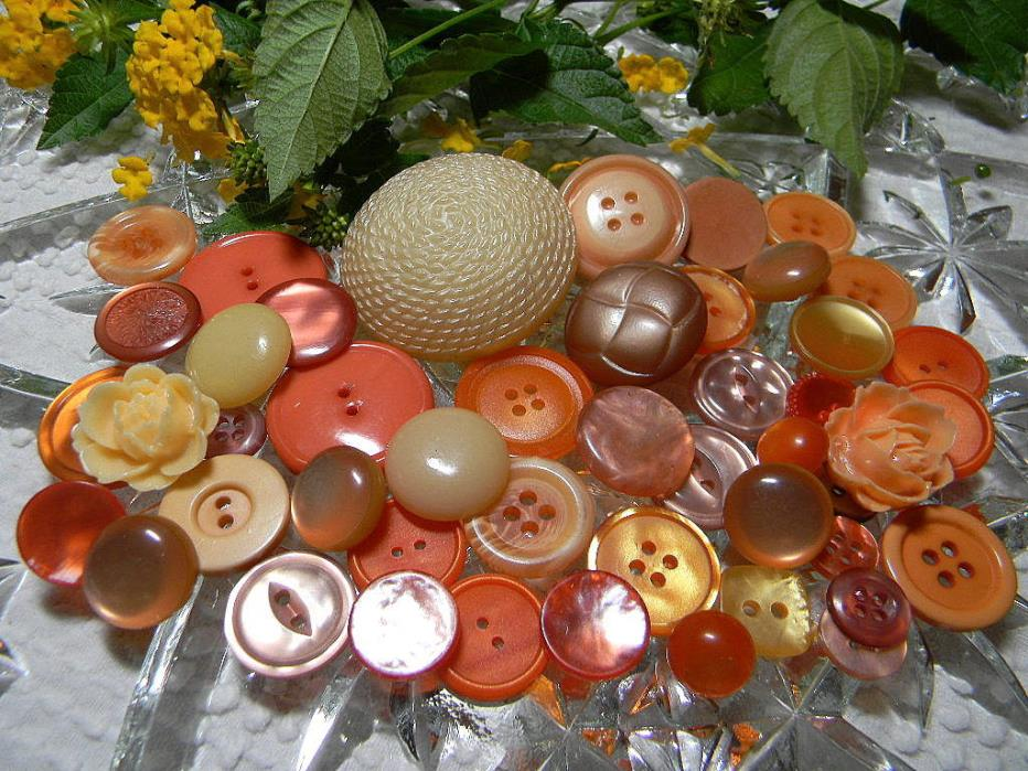 Vintage Orange and Peach Buttons~Collect~Craft~Jewelry~Flowers~Pearly~Sizes