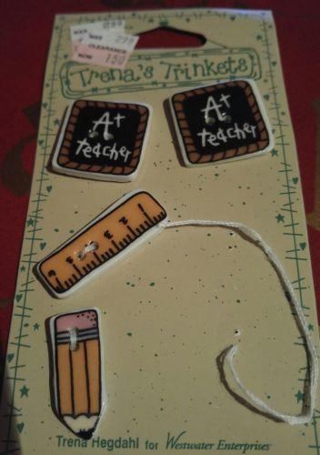 Vintage Trena's Trinkets A+ Teacher Ceramic Buttons - 4 Buttons