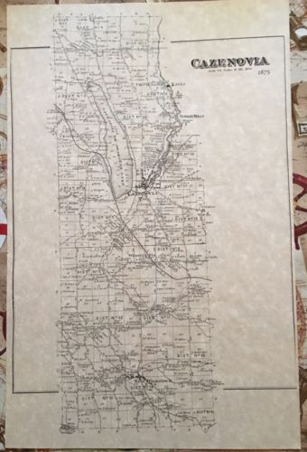 -----  VERY RARE: Village of Cazenovia New York & Area District Map 1875 11
