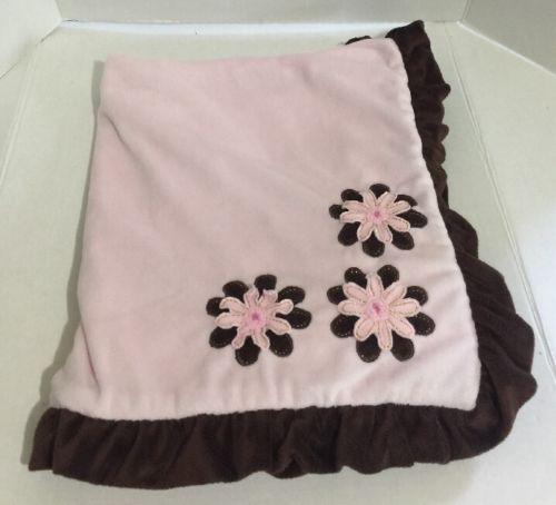 Koala Baby Pink Brown Blanket Ruffle Trim Security Lovey Flowers