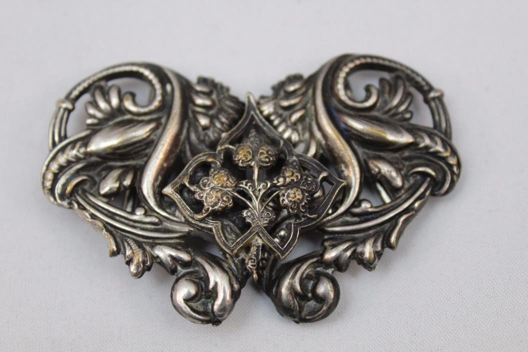Beautiful Etched Molded Belt Buckle Antique Silver-tone fits 1 inch belt