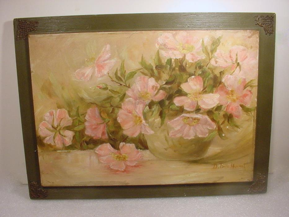 ANTIQUE 19C VICTORIAN HEIRLOOM PINK ROSES OIL PAINTING SIGNED HARLAN