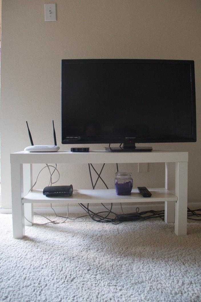 IKEA tv table-stand, white wood, 2 piece table