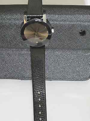Womens Wristwatch Faceted Quartz Crystal Brown Face