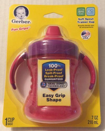 Gerber Trainer Cup Soft Spout Fun Grips Nuk 7 Oz NIP Pink