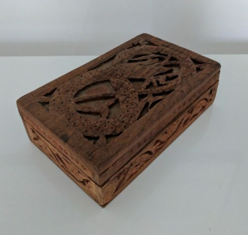Vintage Wooden Ouroboros Box Hand Carved Made in India Mystic Occult Serpent