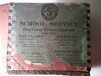 Antique Dove Tailed School Service Wooden Box~Dustless Chalk Crayon