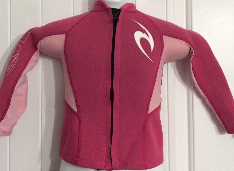 Girls size 5 RIP CURL Rahsguard Pink Zip Front