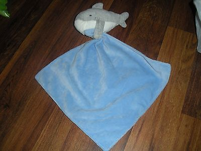 Carter's Plush SHARK Security Blanket Baby Lovey Blue Gray with Rattle *