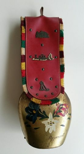 Huge Vintage Swiss Cow Bell Brass Finish Leather Strap Hand-painted Signed