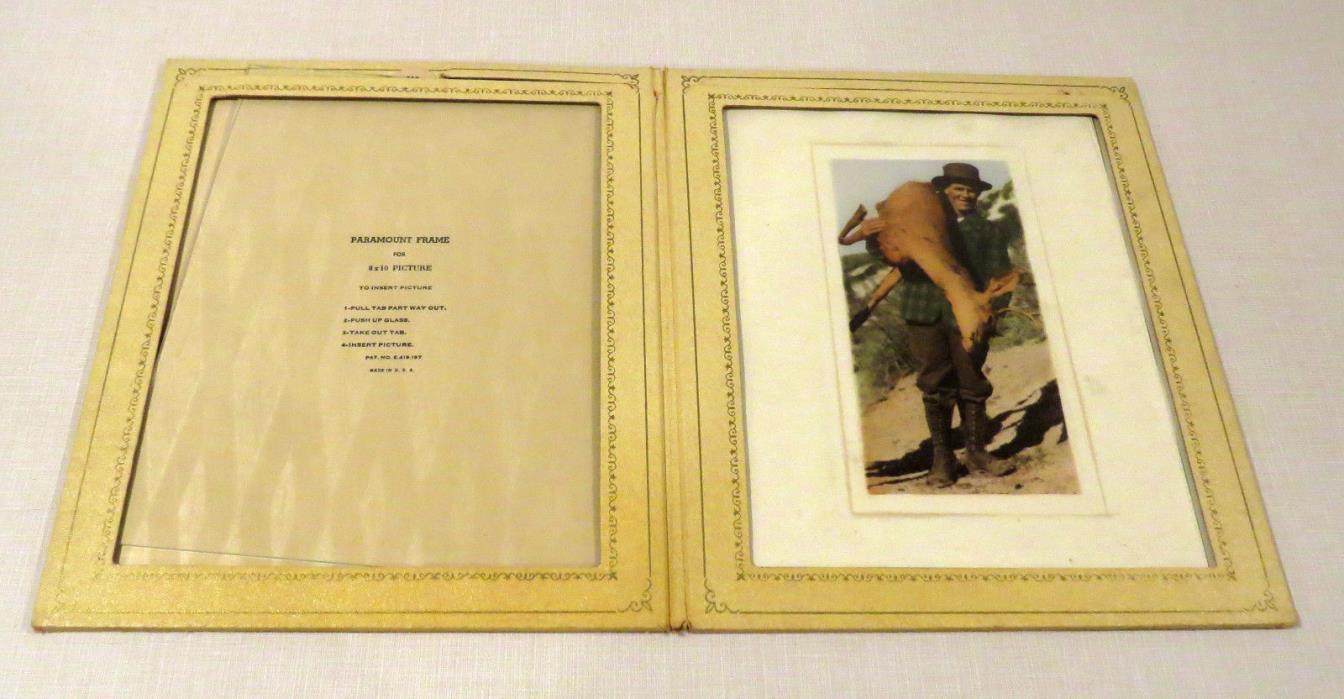 Antique Vintage Paramount Frame Folder - holds (2) 8 x 10 photos, glass