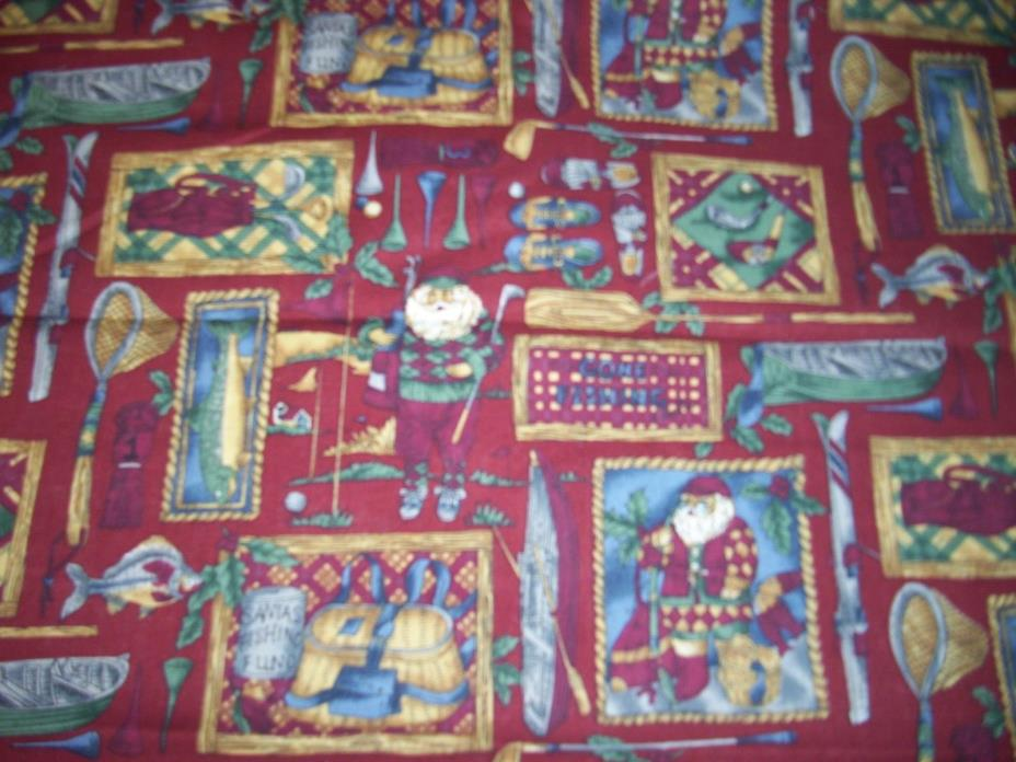 NEW  Cotton Quilt Fabric Santas Fishing Fund Hoffman International by The Yard