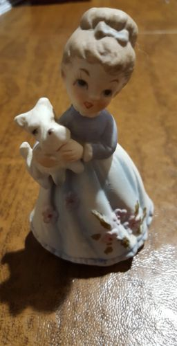 Vintage Lefton Little Girl Figurine Holding a White Scottie  Dog