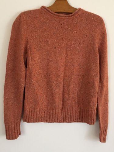 ALC Knit Sweater Womens Sz S Orange Raw Edge Crew Neck Silk Wool Crew Neck