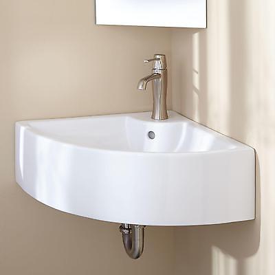 Signature Hardware Gordy Corner Porcelain Wall Mount Sink
