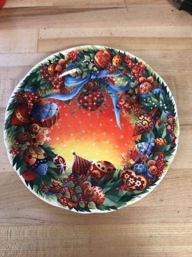 Gien NOEL Joyeux Fetes 2007 Dessert Luncheon Plate Rare Lot #4 One Plate
