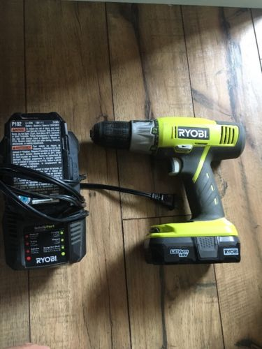 Ryobi 18v Drill With 2 Lithium Battery Batteries And Charger Cordless