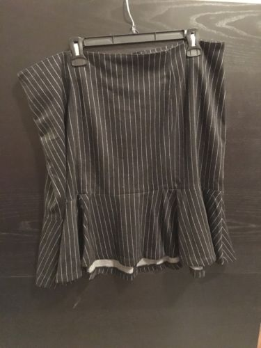 NWT LANE BRYANT PINSTRIPE FLUTED SKIRT - BLACK - PLUS SIZE 18