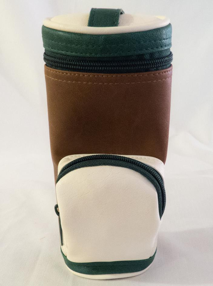 Golf Bag Drink Holder Insulated Bottle Can Clip Pocket Handle Green White Brown