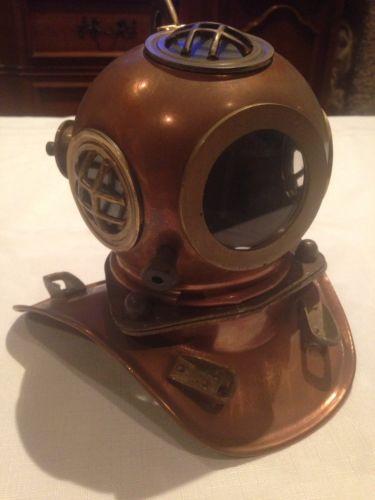 Vintage Copper Brass Mini Mark V Scuba Diving Helmet
