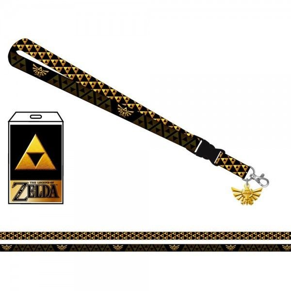 The Legend of Zelda Triforce Neck Lanyard ID Badge Holder Wingcrest Metal Charm