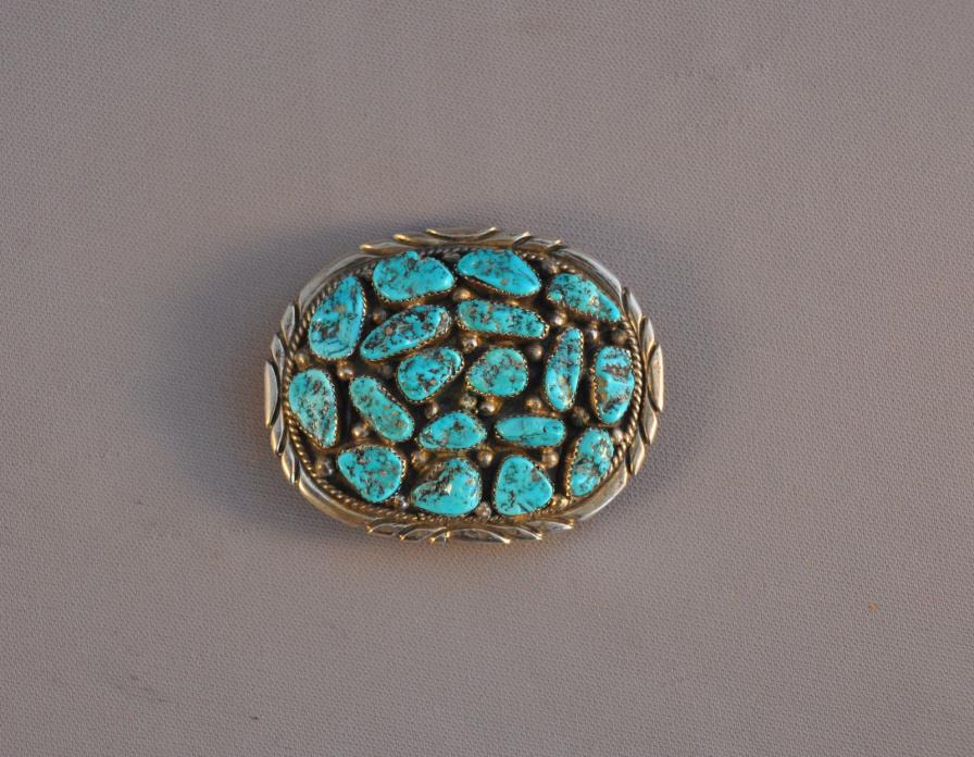 VINTAGE NAVAJO HEAVY STERLING SILVER BUCKLE - 18 TURQUOISE NUGGETS - V. CHEE