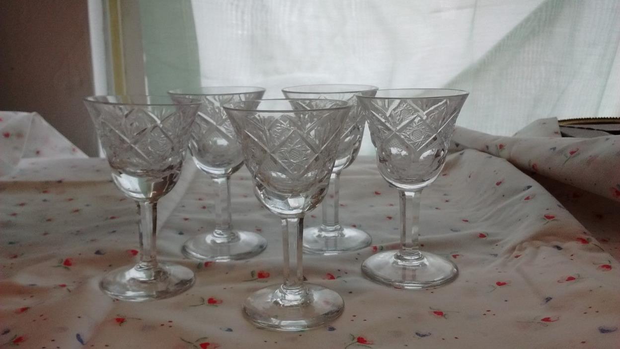 Set of 5 Antique Cut Glass 4
