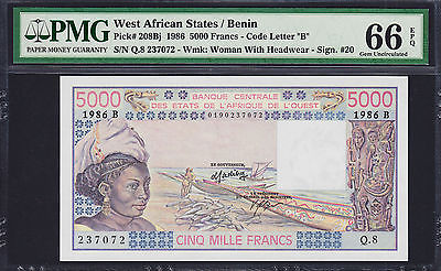 West African States, BENIN 5000 Francs 1986 Pick-208Bj GEM UNC PMG 66 EPQ