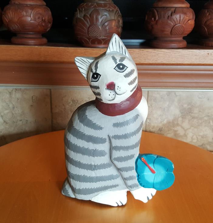 Vintage Cat Blue Lotus Flower Carved Painted Solid Wood Figurine Asian Folk Art
