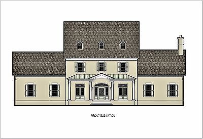 Georgian Colonial House Plans on CAD & PDF files (5,058 square feet)