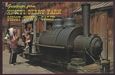 Old Betsy Knott's Berry Farm Greeting Ghost Town Train Kids Railroad Postcard