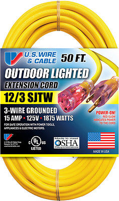 U.S. Wire Outdoor Lighted 50' Extension Cord - 12/3 SJTW - 300V - 15A