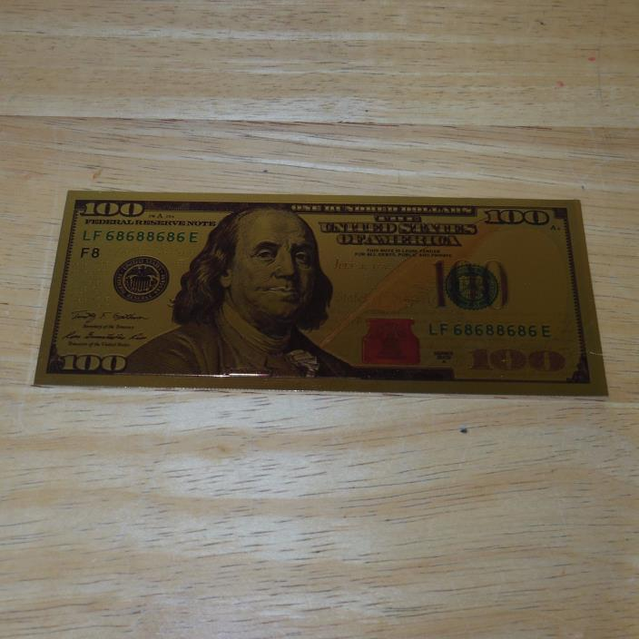 24K Pure .999 Gold Colorized US 100 Dollar Bill Foil Bank Note 2009 Series
