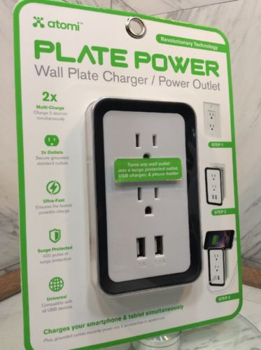 Atomi - Plate Power Wall Plate Charger/Power Outlet - White