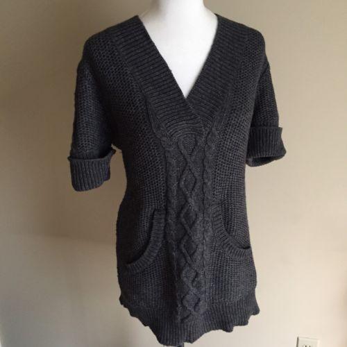 A PEA IN THE POD Medium Gray Short Sleeve Sweater V-neck AA5 Women's Pregnancy