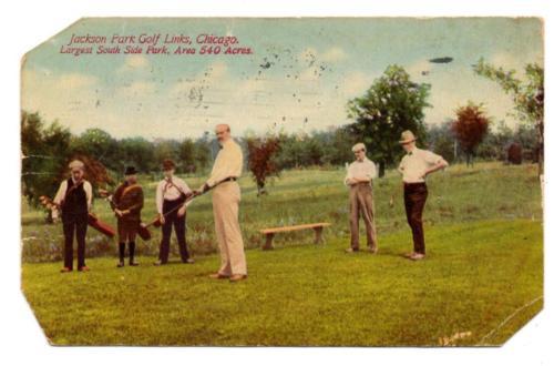 J3998: Ill Chicago JACKSON PARK GOLF LINKS Course, Caddy, Players 1910 Postcard