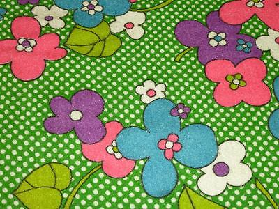 2 Yards Vintage TERRY Cloth FABRIC Mod FLOWER POWER Green Pink Blue