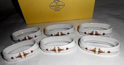 NEW Napkin Rings 6 Brown Porcelain Tirschenreuth Germany Art Deco Nouveau